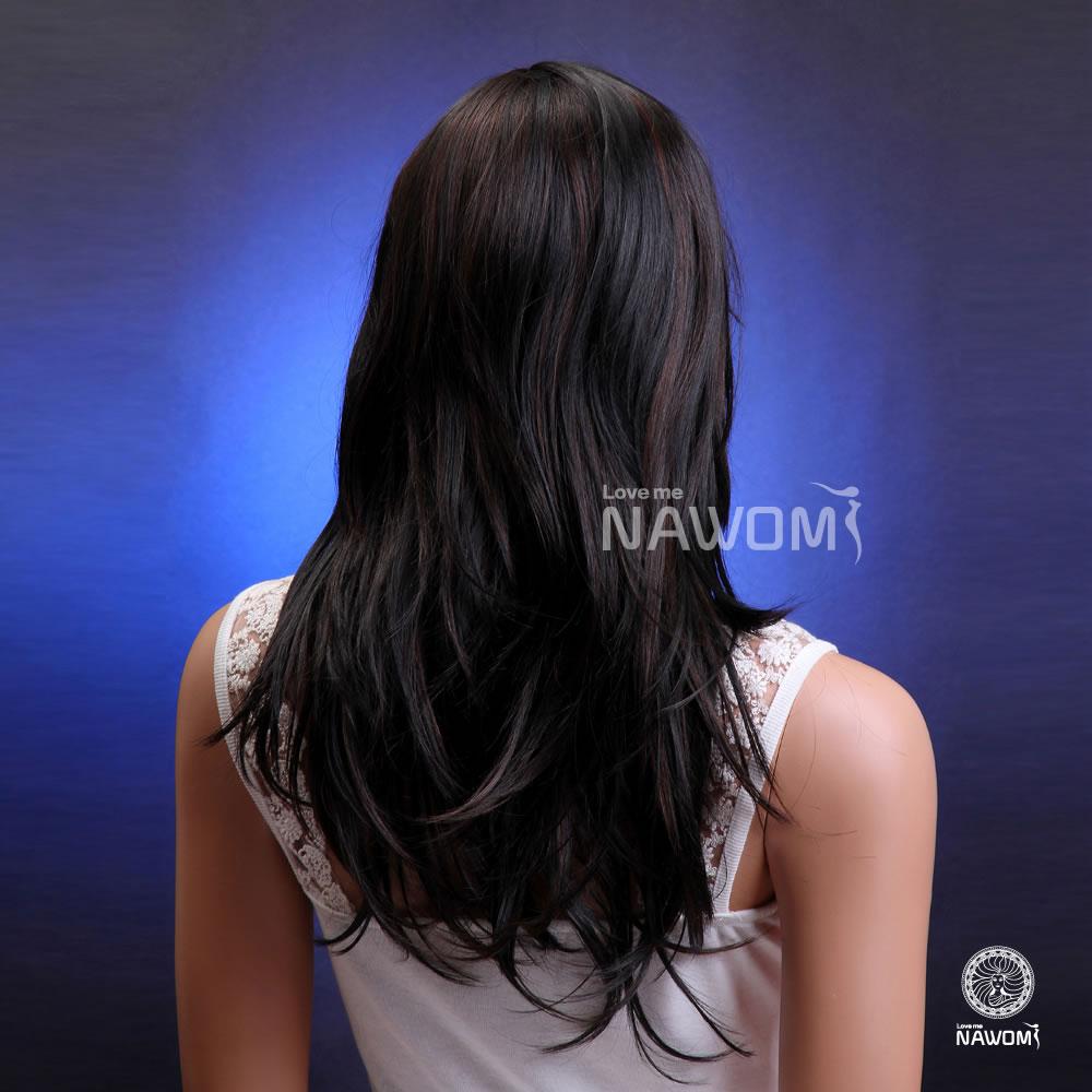 新款修脸假发黑色挑染中长直发欧美女假发套蓬松kanekalon外贸原单